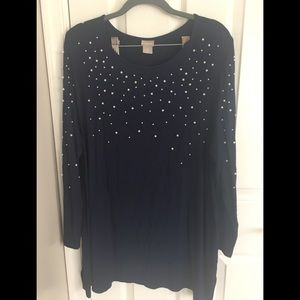 Chico's Long Sleeve Tunic with Pearls